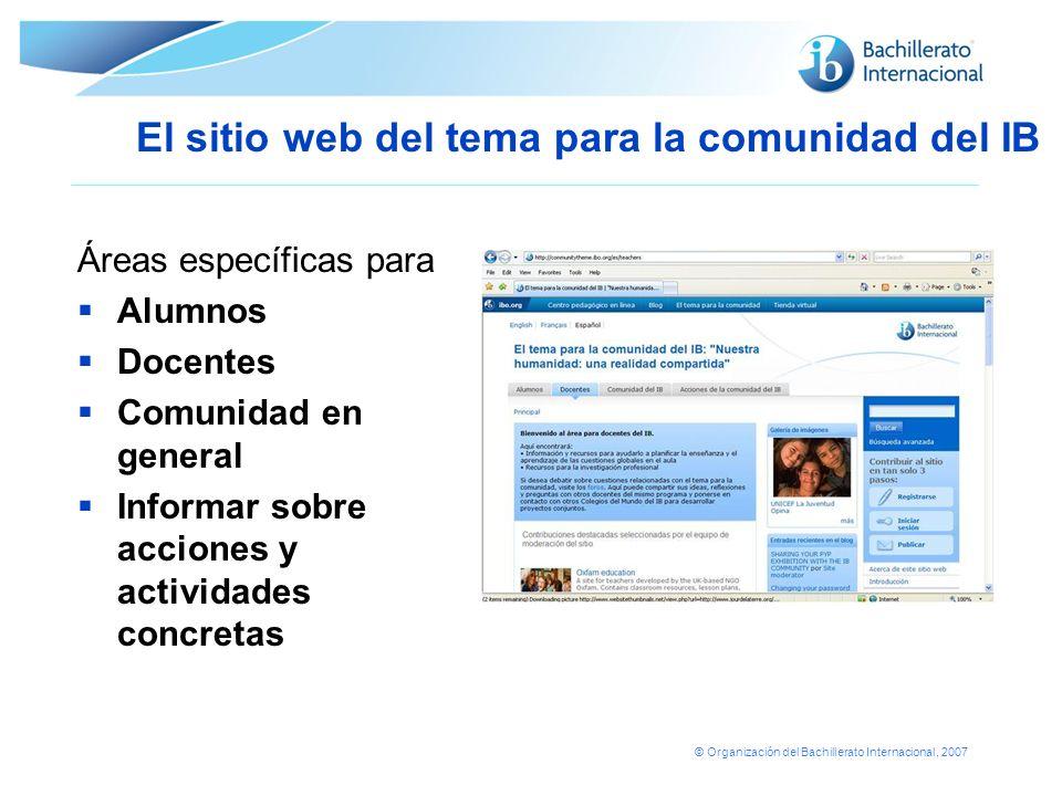 © Organización del Bachillerato Internacional, 2007 Áreas específicas para Alumnos Docentes Comunidad en general Informar sobre acciones y actividades