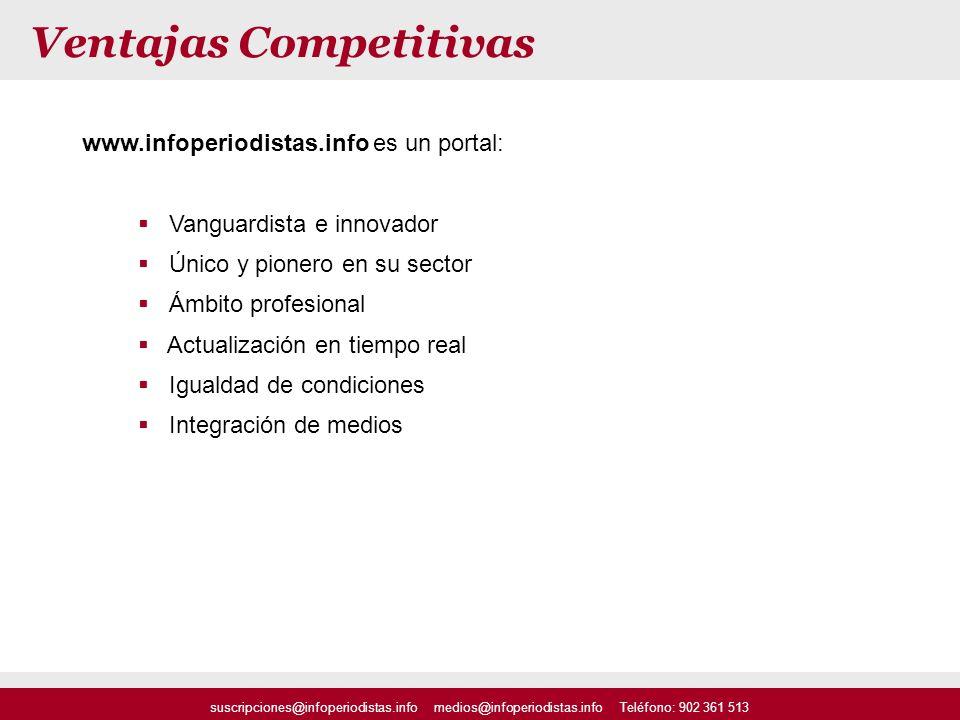 www.infoperiodistas.info es un portal: Vanguardista e innovador Único y pionero en su sector Ámbito profesional Actualización en tiempo real Igualdad