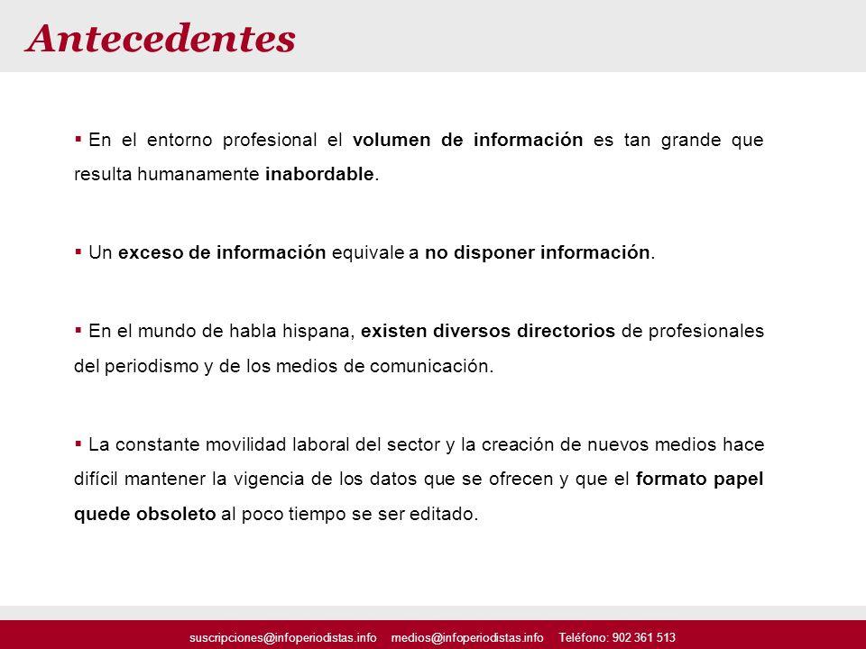 suscripciones@infoperiodistas.info medios@infoperiodistas.info Teléfono: 902 361 513 Antecedentes En el entorno profesional el volumen de información