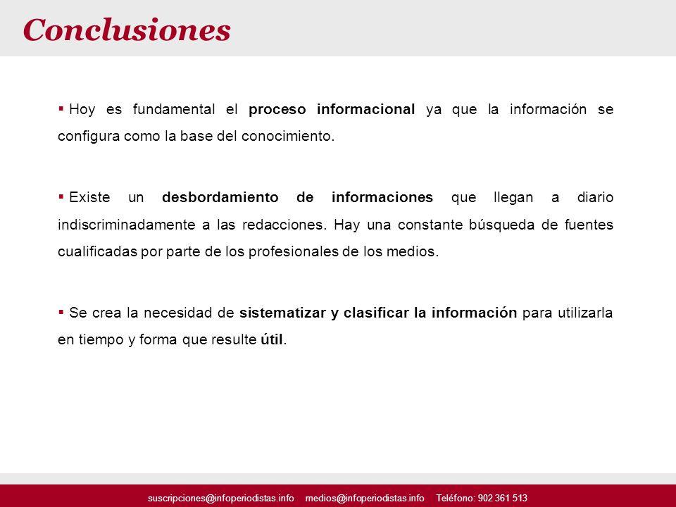 suscripciones@infoperiodistas.info medios@infoperiodistas.info Teléfono: 902 361 513 Conclusiones Hoy es fundamental el proceso informacional ya que l