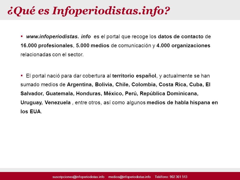 ¿Qué es Infoperiodistas.info? www.infoperiodistas. info es el portal que recoge los datos de contacto de 16.000 profesionales, 5.000 medios de comunic
