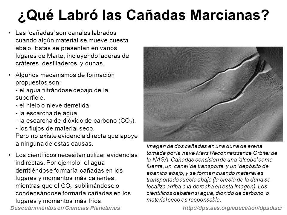 Descubrimientos en Ciencias Planetariashttp://dps.aas.org/education/dpsdisc/ ¿Qué Labró las Cañadas Marcianas? Las cañadas son canales labrados cuando