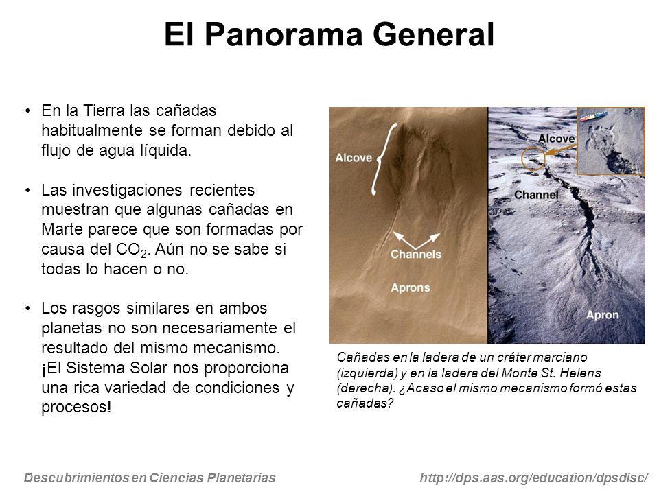 Descubrimientos en Ciencias Planetariashttp://dps.aas.org/education/dpsdisc/ El Panorama General En la Tierra las cañadas habitualmente se forman debi
