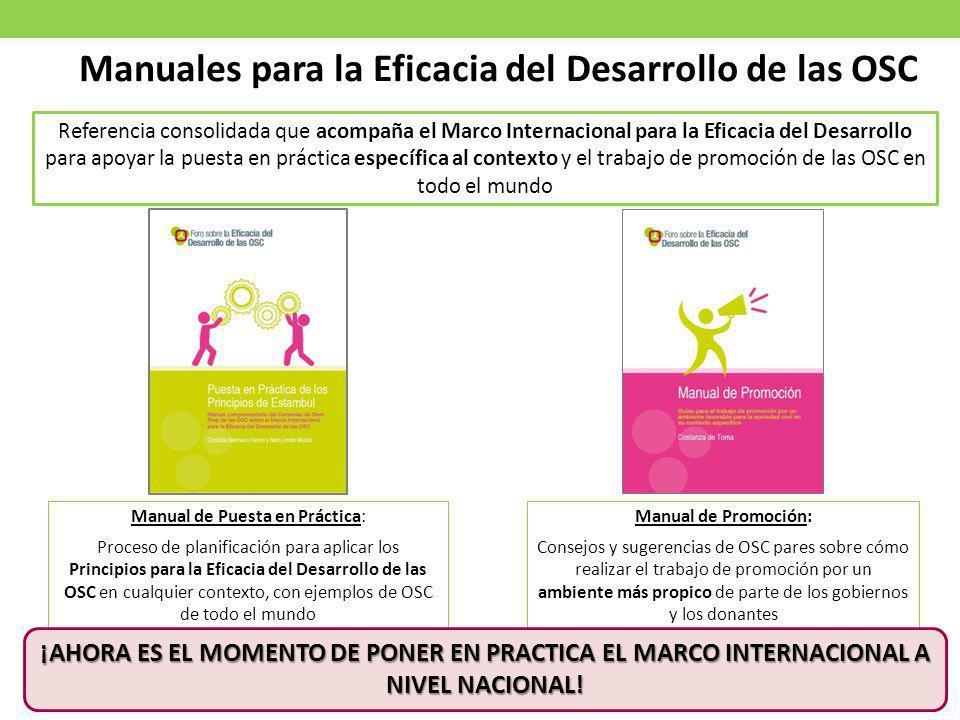 Manuales para la Eficacia del Desarrollo de las OSC Manual de Puesta en Práctica: Proceso de planificación para aplicar los Principios para la Eficaci