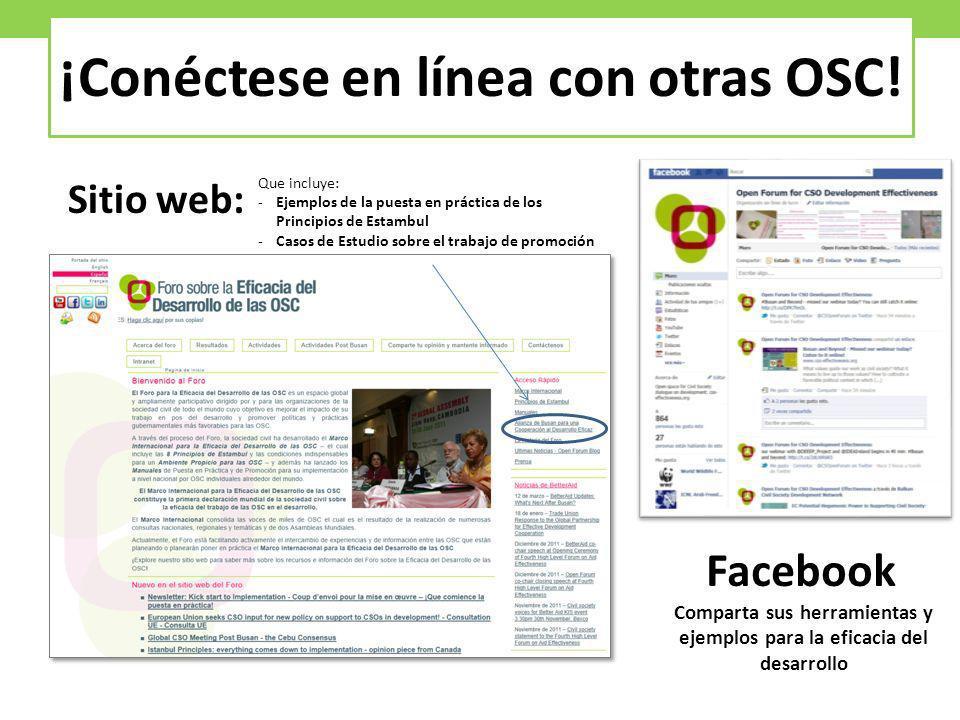 Sitio web: ¡Conéctese en línea con otras OSC! Facebook Comparta sus herramientas y ejemplos para la eficacia del desarrollo Que incluye: -Ejemplos de
