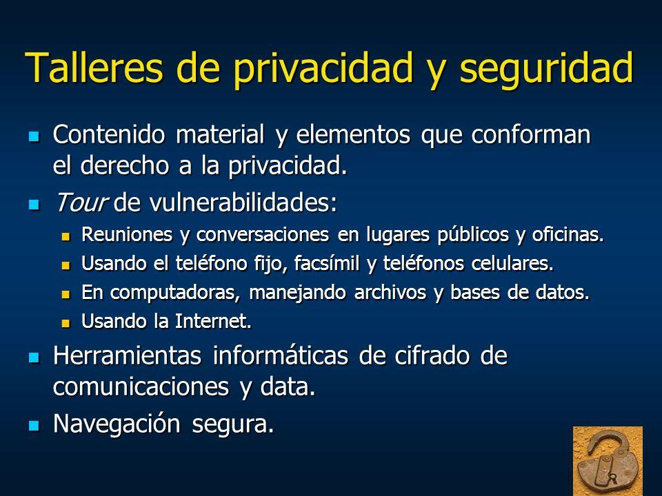 Talleres de privacidad y seguridad Contenido material y elementos que conforman el derecho a la privacidad. Contenido material y elementos que conform