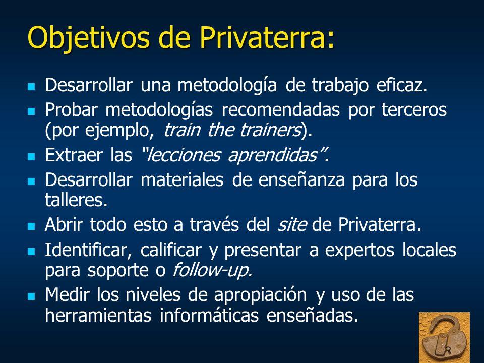 Objetivos de Privaterra: Desarrollar una metodología de trabajo eficaz. Probar metodologías recomendadas por terceros (por ejemplo, train the trainers