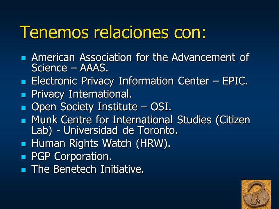 Tenemos relaciones con: American Association for the Advancement of Science – AAAS. American Association for the Advancement of Science – AAAS. Electr