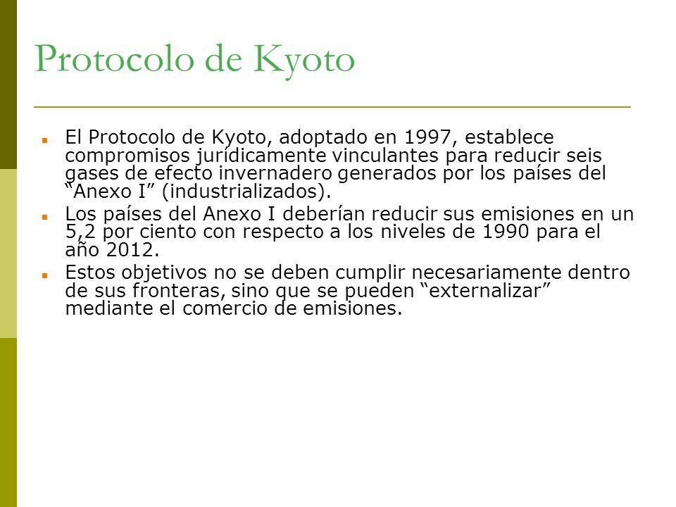 Protocolo de Kyoto El Protocolo de Kyoto, adoptado en 1997, establece compromisos jurídicamente vinculantes para reducir seis gases de efecto invernad