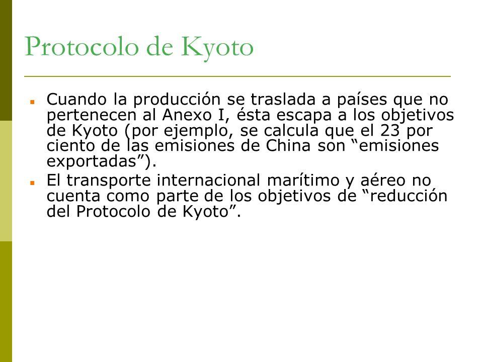 Protocolo de Kyoto Cuando la producción se traslada a países que no pertenecen al Anexo I, ésta escapa a los objetivos de Kyoto (por ejemplo, se calcu