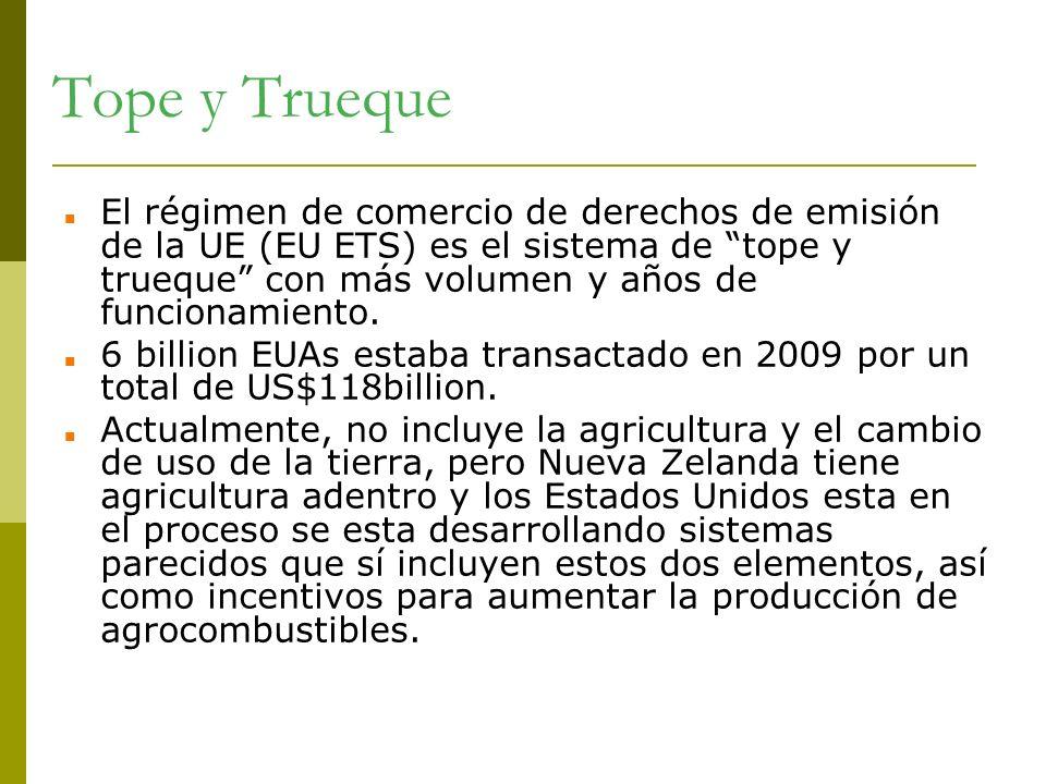 Tope y Trueque El régimen de comercio de derechos de emisión de la UE (EU ETS) es el sistema de tope y trueque con más volumen y años de funcionamient