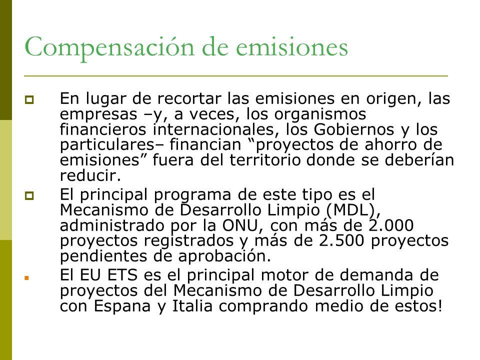 Compensación de emisiones En lugar de recortar las emisiones en origen, las empresas –y, a veces, los organismos financieros internacionales, los Gobi