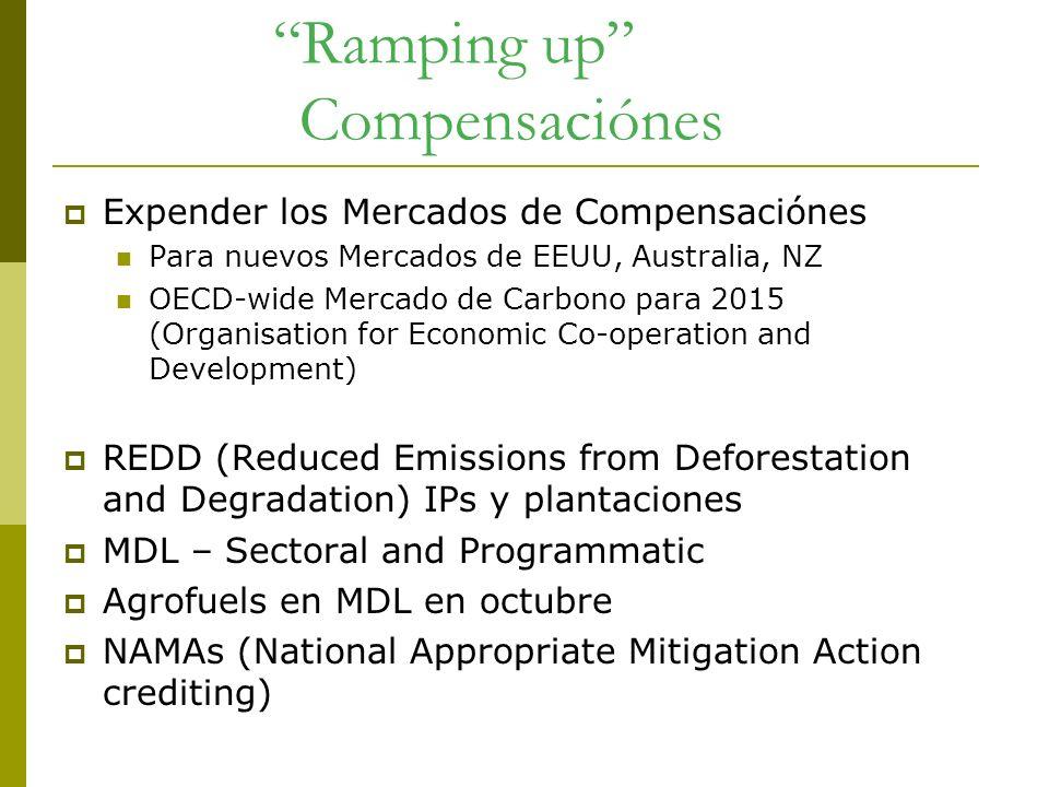Ramping up Compensaciónes Expender los Mercados de Compensaciónes Para nuevos Mercados de EEUU, Australia, NZ OECD-wide Mercado de Carbono para 2015 (