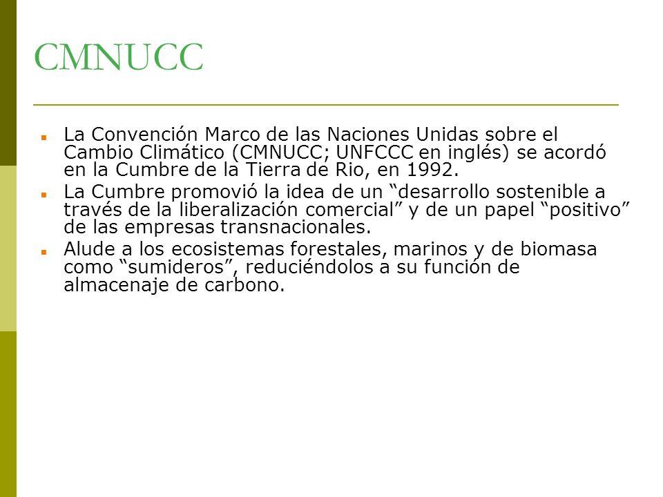 CMNUCC La Convención Marco de las Naciones Unidas sobre el Cambio Climático (CMNUCC; UNFCCC en inglés) se acordó en la Cumbre de la Tierra de Rio, en