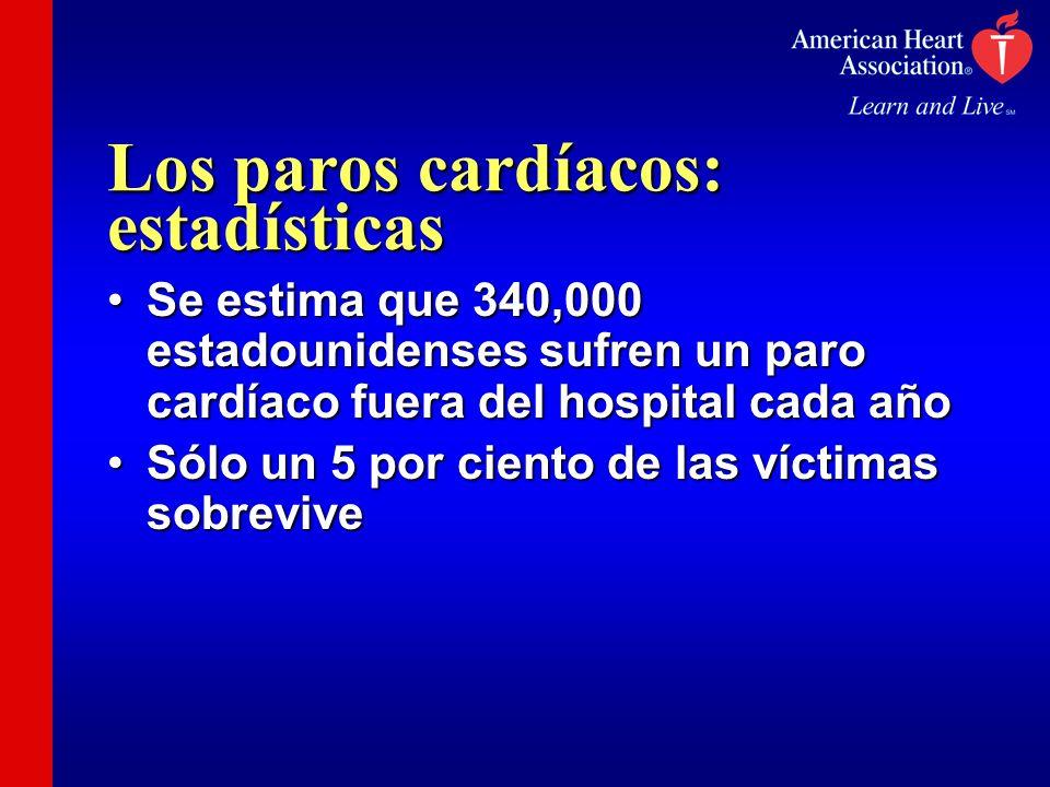 Los paros cardíacos: estadísticas Se estima que 340,000 estadounidenses sufren un paro cardíaco fuera del hospital cada añoSe estima que 340,000 estad