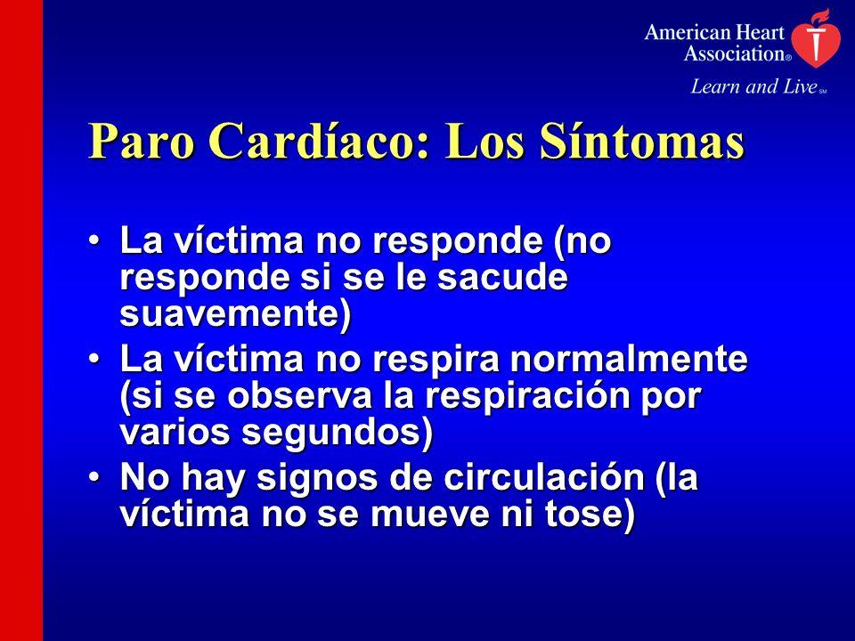 Paro Cardíaco: Los Síntomas La víctima no responde (no responde si se le sacude suavemente)La víctima no responde (no responde si se le sacude suaveme