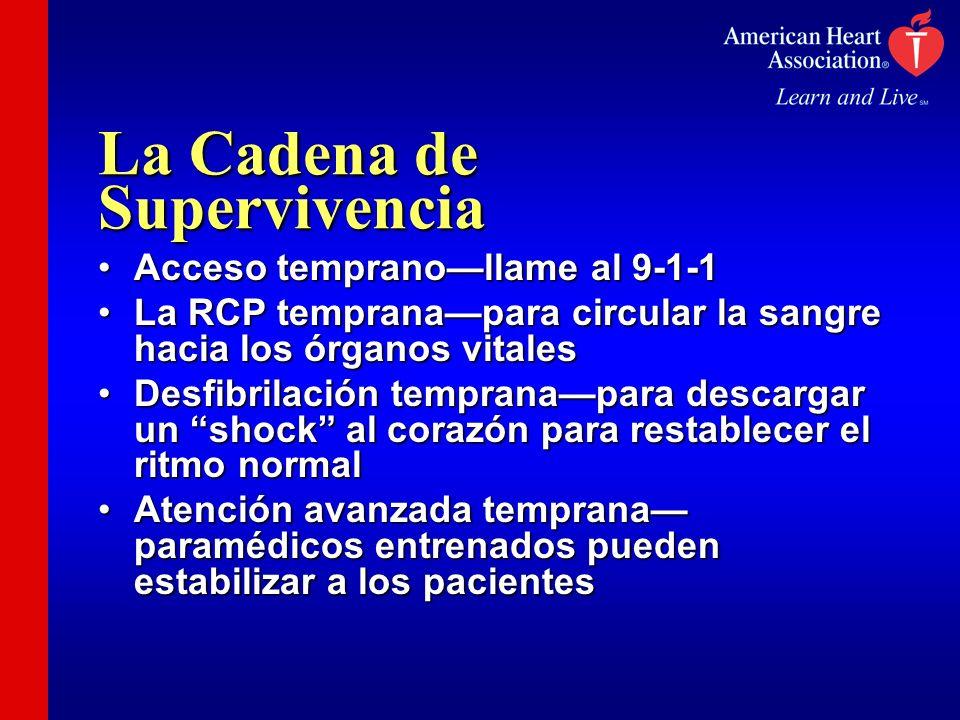 La Cadena de Supervivencia Acceso tempranollame al 9-1-1Acceso tempranollame al 9-1-1 La RCP tempranapara circular la sangre hacia los órganos vitales
