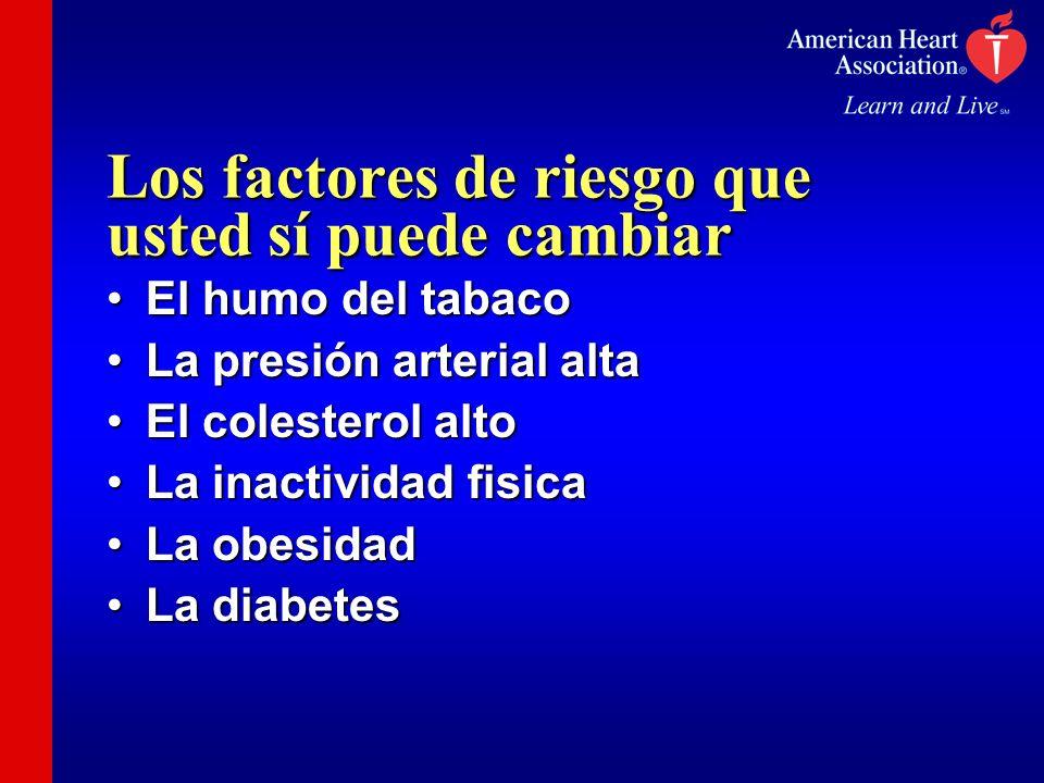 Los factores de riesgo que usted sí puede cambiar El humo del tabacoEl humo del tabaco La presión arterial altaLa presión arterial alta El colesterol