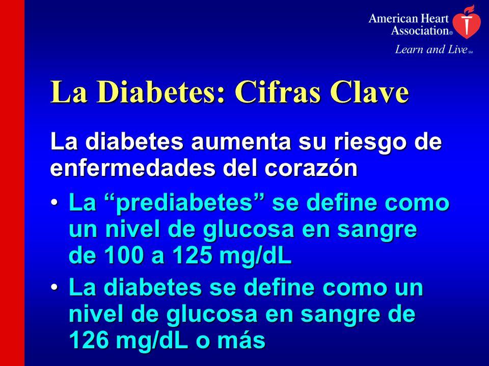 La Diabetes: Cifras Clave La diabetes aumenta su riesgo de enfermedades del corazón La prediabetes se define como un nivel de glucosa en sangre de 100