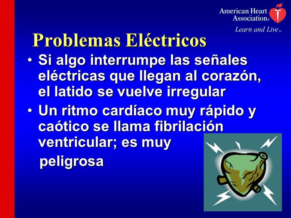 Problemas Eléctricos Si algo interrumpe las señales eléctricas que llegan al corazón, el latido se vuelve irregularSi algo interrumpe las señales eléc