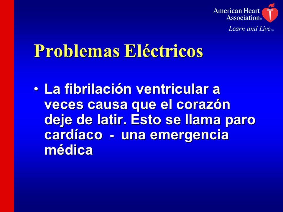 Problemas Eléctricos La fibrilación ventricular a veces causa que el corazón deje de latir. Esto se llama paro cardíaco - una emergencia médicaLa fibr