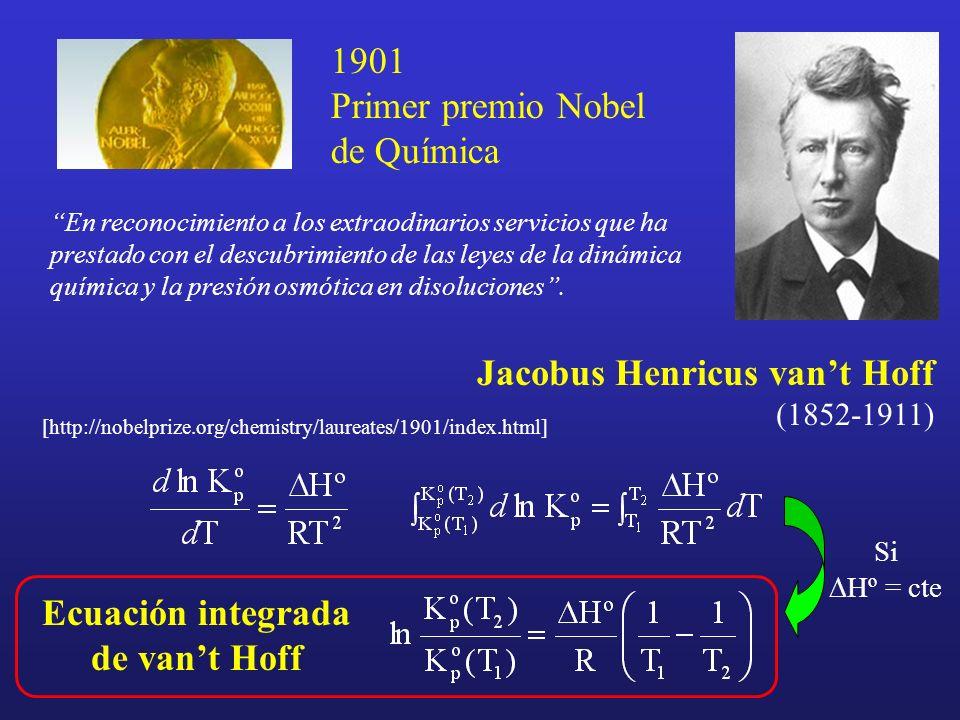 [http://nobelprize.org/chemistry/laureates/1901/index.html] Jacobus Henricus vant Hoff (1852-1911) En reconocimiento a los extraodinarios servicios qu