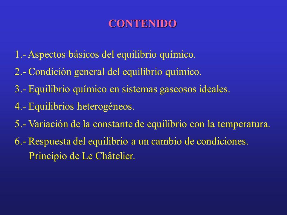 CONTENIDO 1.- Aspectos básicos del equilibrio químico. 2.- Condición general del equilibrio químico. 3.- Equilibrio químico en sistemas gaseosos ideal