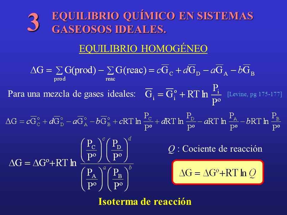 EQUILIBRIO QUÍMICO EN SISTEMAS GASEOSOS IDEALES. 3 EQUILIBRIO HOMOGÉNEO Para una mezcla de gases ideales: [Levine, pg 175-177] Isoterma de reacción Q