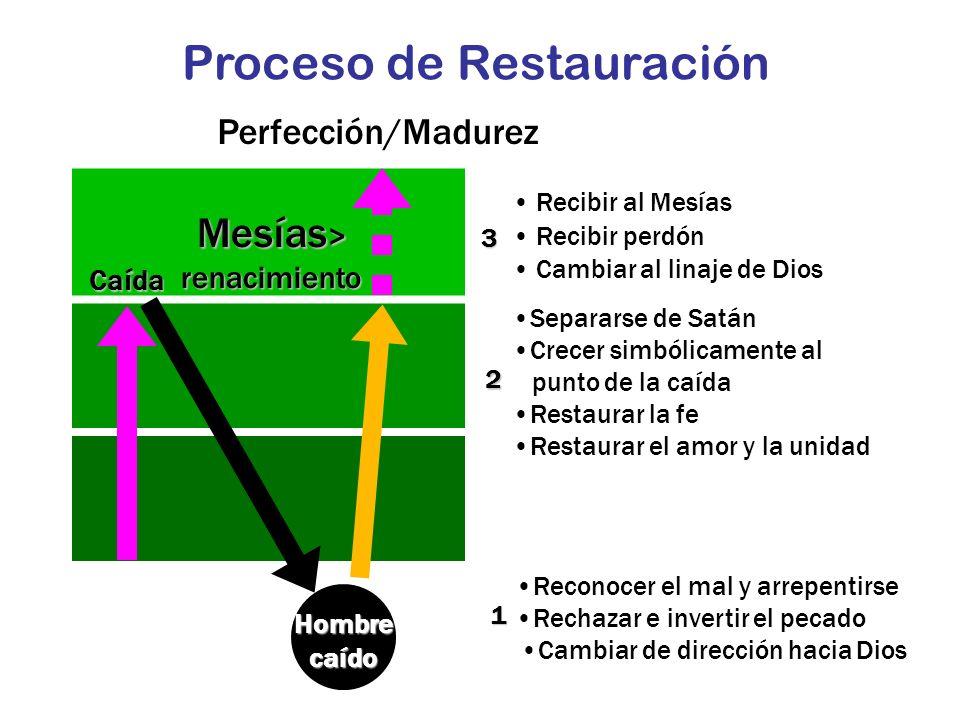Mesías > renacimiento Perfección/Madurez Hombre caído 3 2 1 Recibir al Mesías Recibir perdón Cambiar al linaje de Dios Reconocer el mal y arrepentirse