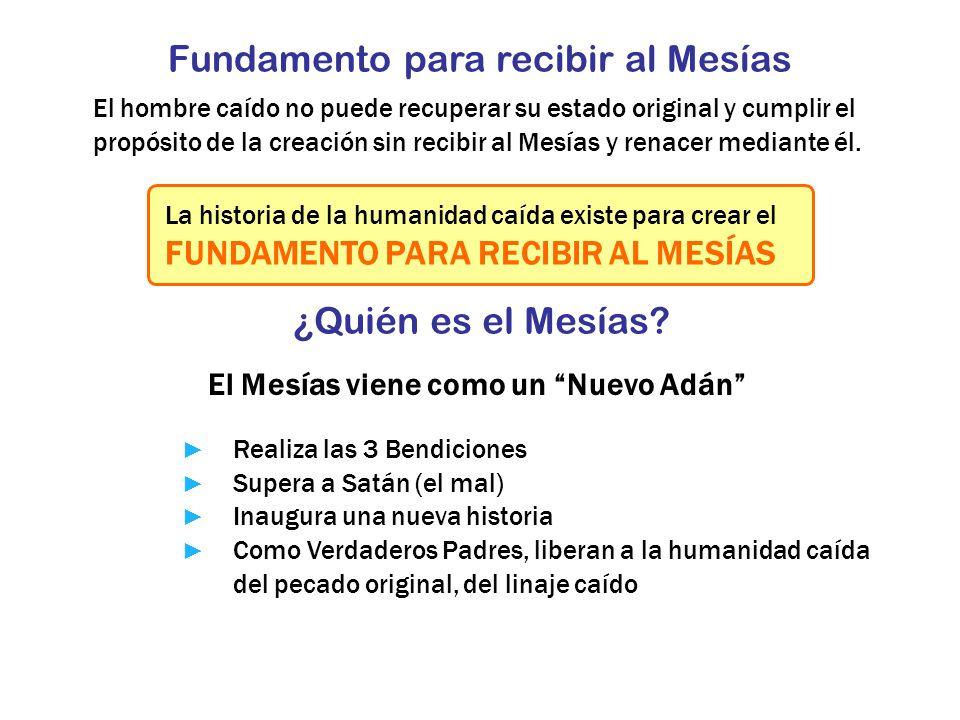 Fundamento para recibir al Mesías El hombre caído no puede recuperar su estado original y cumplir el propósito de la creación sin recibir al Mesías y
