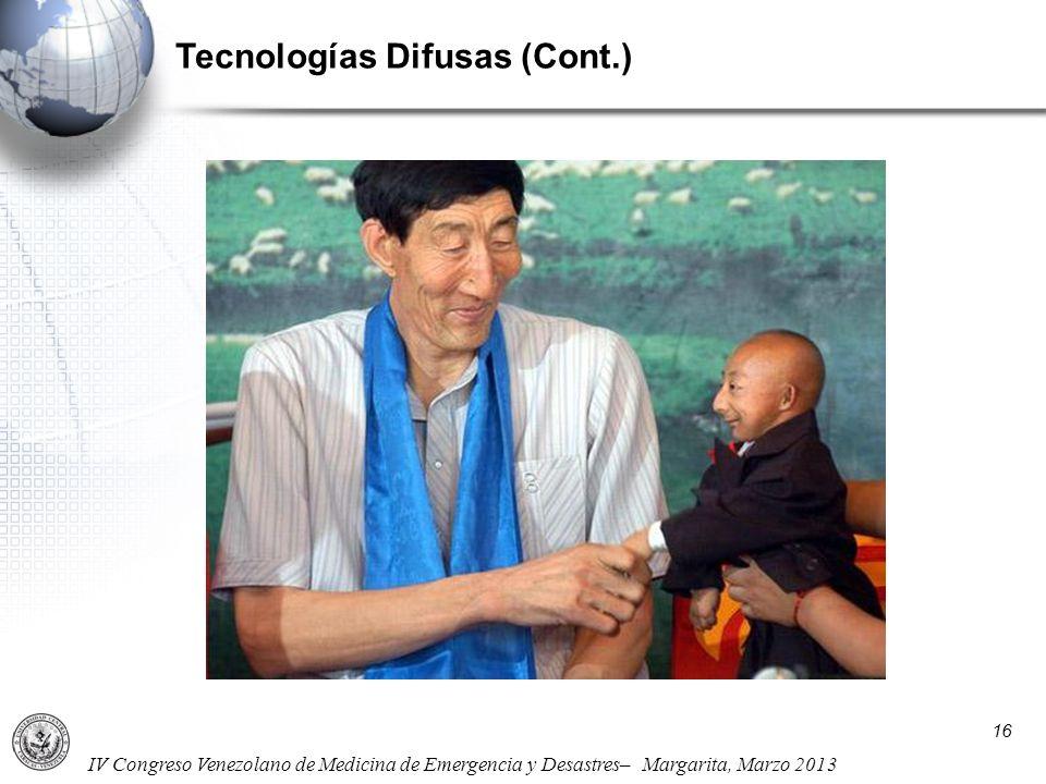 IV Congreso Venezolano de Medicina de Emergencia y Desastres– Margarita, Marzo 2013 Tecnologías Difusas (Cont.) 16
