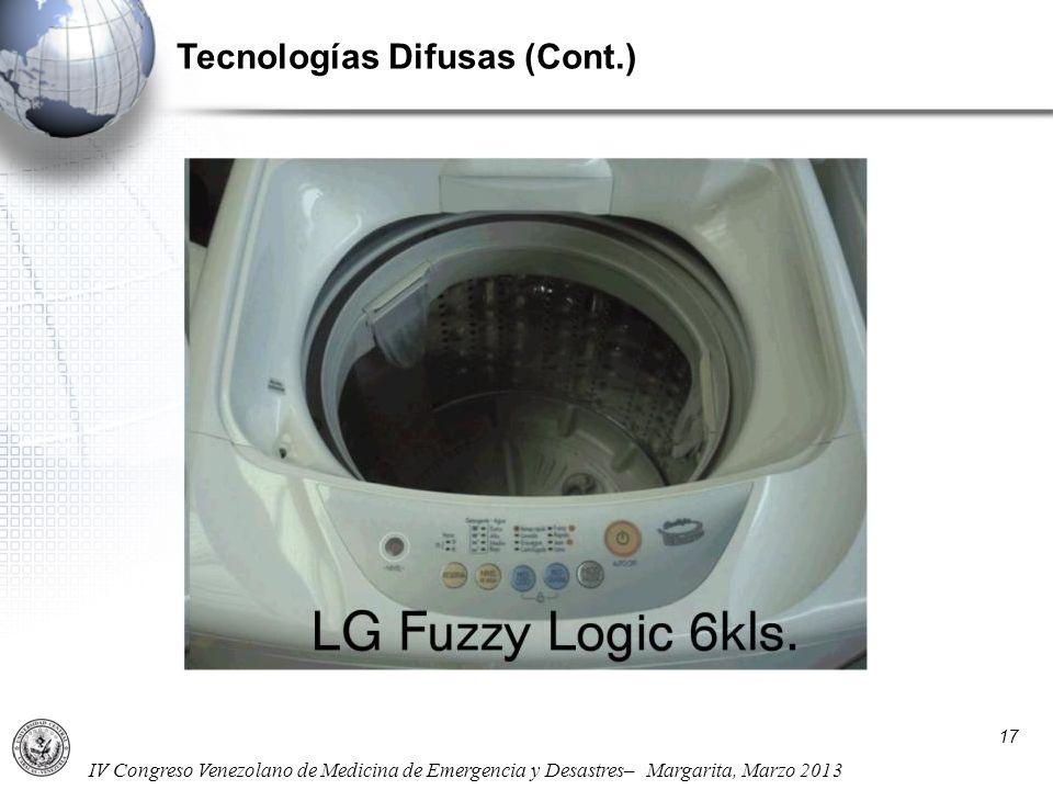 IV Congreso Venezolano de Medicina de Emergencia y Desastres– Margarita, Marzo 2013 Tecnologías Difusas (Cont.) 17
