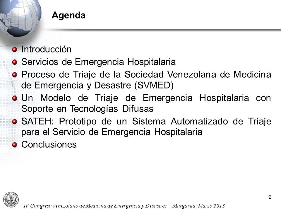 IV Congreso Venezolano de Medicina de Emergencia y Desastres– Margarita, Marzo 2013 2 Introducción Servicios de Emergencia Hospitalaria Proceso de Tri