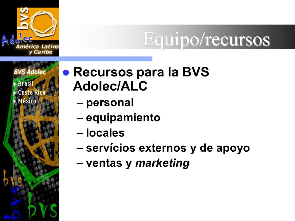 Equipo/recursos Recursos para la BVS Adolec/ALC –personal –equipamiento –locales –servícios externos y de apoyo –ventas y marketing
