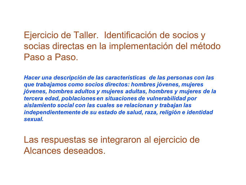 Ejercicio de Taller. Identificación de socios y socias directas en la implementación del método Paso a Paso. Hacer una descripción de las característi