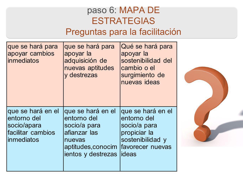 paso 6: MAPA DE ESTRATEGIAS Preguntas para la facilitación que se hará para apoyar cambios inmediatos que se hará para apoyar la adquisición de nuevas