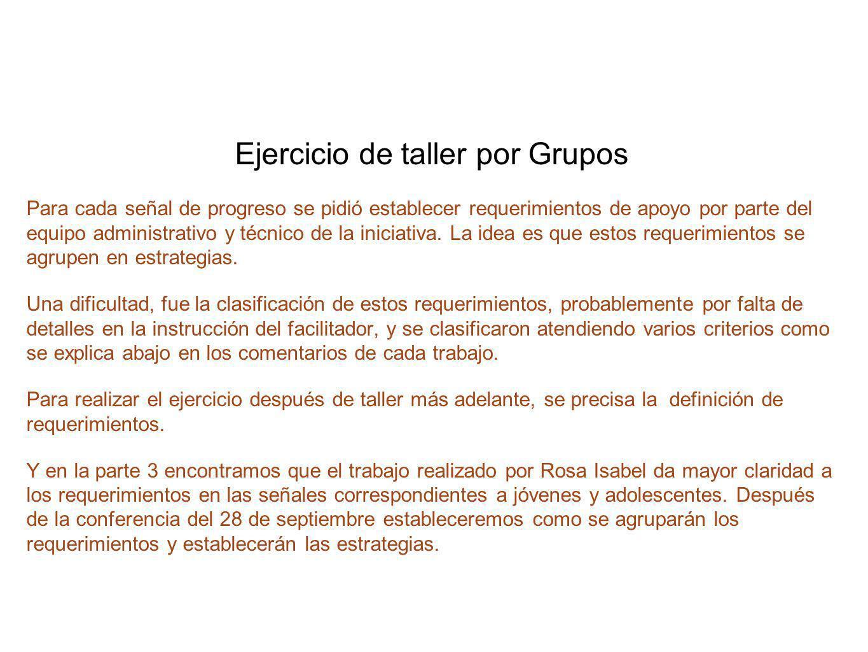 Ejercicio de taller por Grupos Para cada señal de progreso se pidió establecer requerimientos de apoyo por parte del equipo administrativo y técnico d