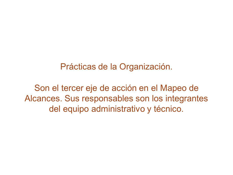Prácticas de la Organización. Son el tercer eje de acción en el Mapeo de Alcances. Sus responsables son los integrantes del equipo administrativo y té
