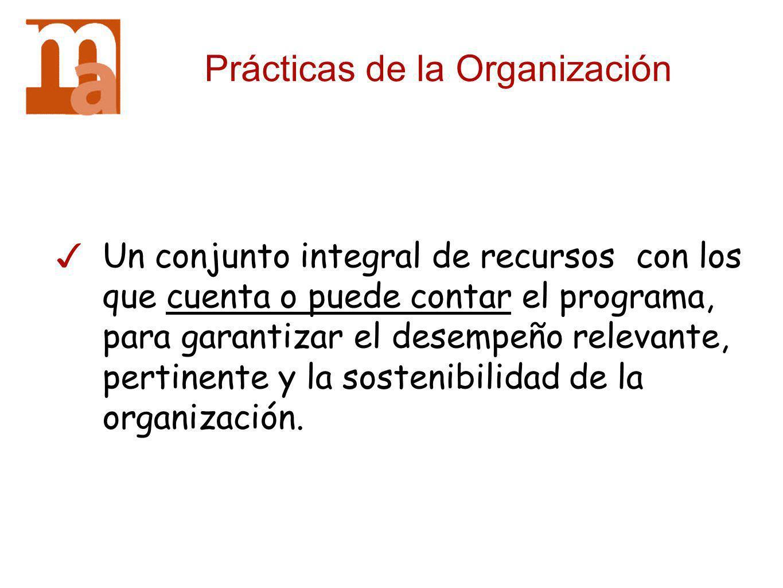 Prácticas de la Organización Un conjunto integral de recursos con los que cuenta o puede contar el programa, para garantizar el desempeño relevante, p