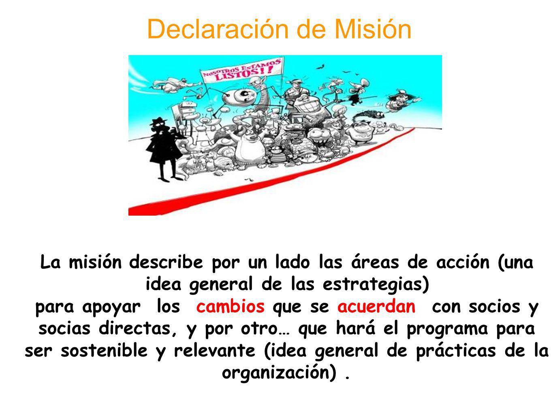 La misión describe por un lado las áreas de acción (una idea general de las estrategias) para apoyar los cambios que se acuerdan con socios y socias d