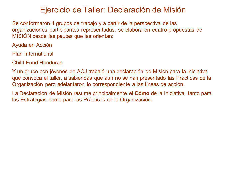 Ejercicio de Taller: Declaración de Misión Se conformaron 4 grupos de trabajo y a partir de la perspectiva de las organizaciones participantes represe