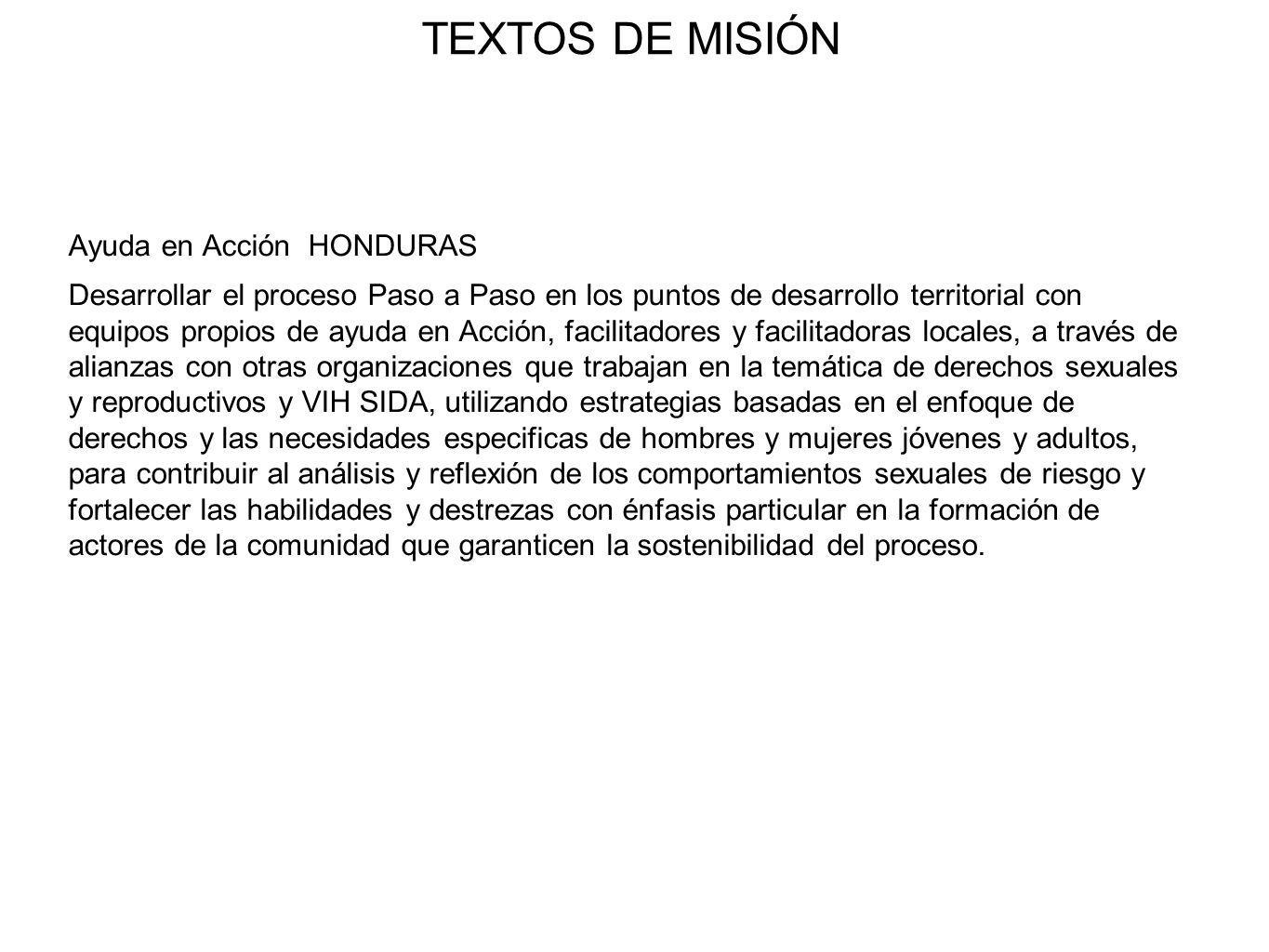 TEXTOS DE MISIÓN Child Fund Honduras.