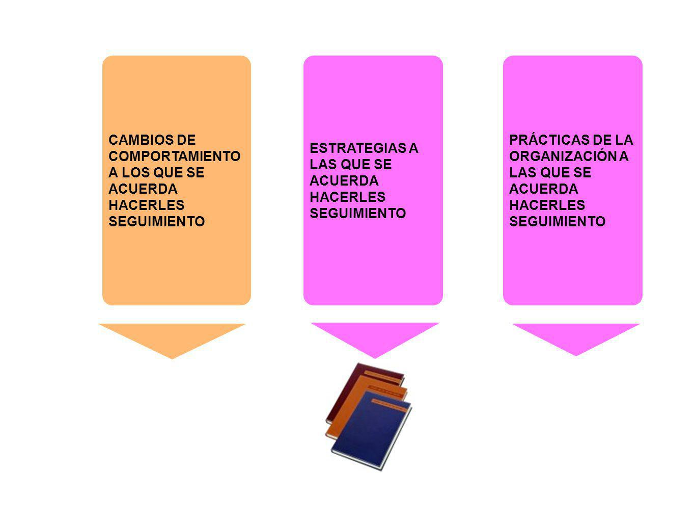 CAMBIOS DE COMPORTAMIENTO A LOS QUE SE ACUERDA HACERLES SEGUIMIENTO PRÁCTICAS DE LA ORGANIZACIÓN A LAS QUE SE ACUERDA HACERLES SEGUIMIENTO ESTRATEGIAS
