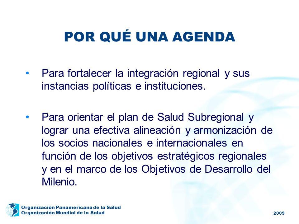 2009 Organización Panamericana de la Salud Organización Mundial de la Salud POR QUÉ UNA AGENDA Para fortalecer la integración regional y sus instancia