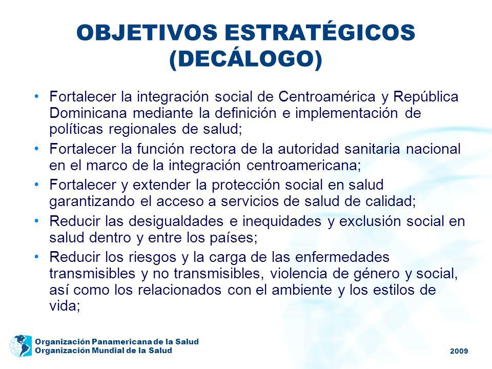 2009 Organización Panamericana de la Salud Organización Mundial de la Salud OBJETIVOS ESTRATÉGICOS (DECÁLOGO) Fortalecer la integración social de Cent