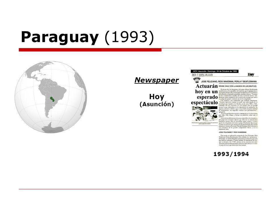 Paraguay (1993) Newspaper Hoy (Asunción) 1993/1994