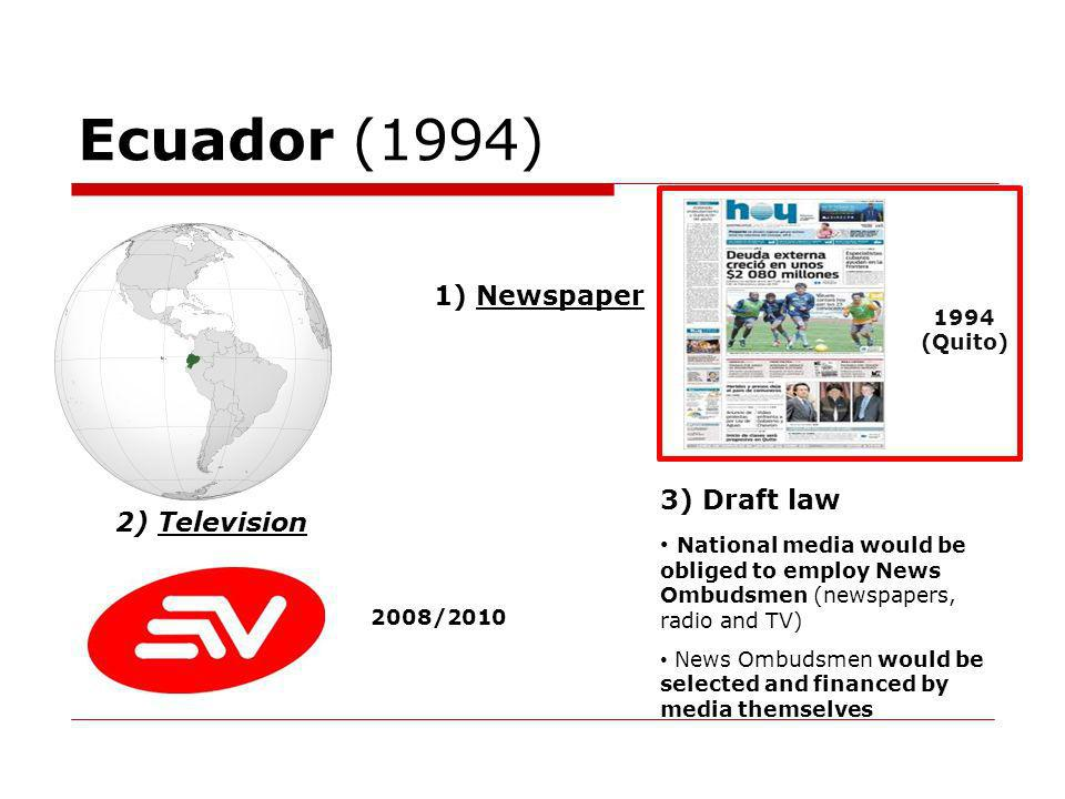 Ecuador (1994) 1) Newspaper 1994 (Quito) 2) Television 2008/2010 3) Draft law National media would be obliged to employ News Ombudsmen (newspapers, radio and TV) News Ombudsmen would be selected and financed by media themselves