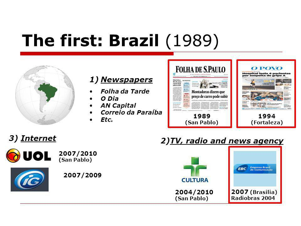 The first: Brazil (1989) 1)Newspapers Folha da Tarde O Dia AN Capital Correio da Paraíba Etc.