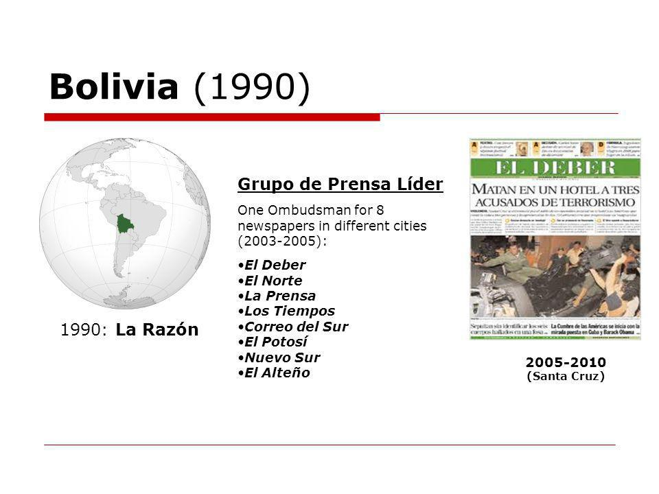 Bolivia (1990) 2005-2010 (Santa Cruz) 1990: La Razón Grupo de Prensa Líder One Ombudsman for 8 newspapers in different cities (2003-2005): El Deber El