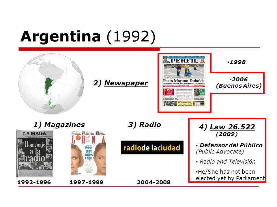 Argentina (1992) 2) Newspaper 1) Magazines3) Radio Defensor del Público (Public Advocate) Radio and Televisión He/She has not been elected yet by Parliament 1998 1992-19961997-19992004-2008 2006 (Buenos Aires) 4) Law 26.522 (2009)